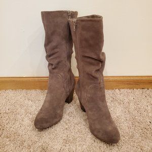 Slouchy Taupe Heeled Boots